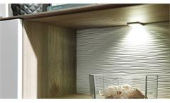 Sideboard Frisko Kommode Wohnzimmermöbel weiß matt und Silbereiche mit LED