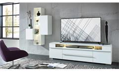 Wohnwand SOLO Anbauwand in weiß matt mit LED