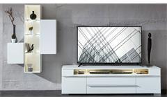 Wohnwand Solo Anbauwand Medienwand in weiß matt mit LED Wohnzimmermöbel