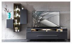 Wohnwand Solo Anbauwand Medienwand mit LED in graphit matt Wohnzimmermöbel