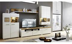 Wohnwand Fun Plus Anbauwand Wohnzimmer in weiß matt Eiche Altholz und Hirnholz