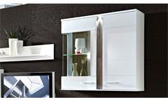 Wohnwand 1 Malibu Anbauwand Wohnkombi in MDF weiß Hochglanz mit LED-Beleuchtung