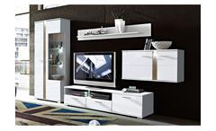 Wohnwand 2 MALIBU Anbauwand in MDF weiß Hochglanz mit LED-Beleuchtung
