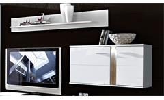 Wohnwand 2 Malibu Anbauwand Wohnkombi in MDF weiß Hochglanz mit LED-Beleuchtung