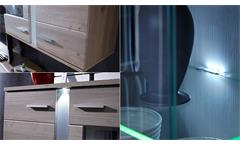 Wohnwand 1 Malibu Anbauwand Wohnkombi in MDF Silbereiche inkl. LED-Beleuchtung