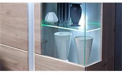 Wohnwand 2 Malibu Anbauwand Wohnkombi in MDF Silbereiche inkl. LED-Beleuchtung