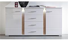 Sideboard Malibu Anrichte Kommode in MDF weiß Hochglanz inkl. LED-Beleuchtung
