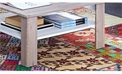 Couchtisch Malibu Wohnzimmertisch Tisch in MDF Silbereiche und weiß 90x90 cm