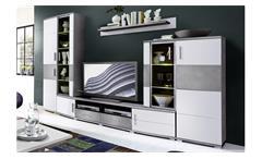 Wohnwand Jam Anbauwand mit LED Wohnzimmer weiß Hochglanz und Betonoptik