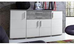 Sideboard Jam Anrichte Kommode Wohnzimmer in weiß Hochglanz und Betonoptik