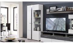 Vitrine Spurt 1 Vitrinenschrank Schrank mit LED Wohnzimmer weiß und Betonoptik