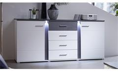Sideboard Spurt mit LED Anrichte Kommode Wohnzimmer weiß und Betonoptik
