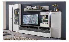 Wohnwand Spurt 2 mit LED Wohnzimmer Anbauwand in weiß und Betonoptik