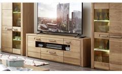TV-Board Nature Two Lowboard Unterschrank in Wildeiche Bianco teilmassiv