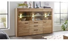 Highboard Nature Two Wohnzimmer Schrank in Wildeiche Bianco teilmassiv