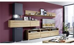 Wohnwand Brigg Anbauwand Wohnzimmer in Gran Oak Gold Eiche graphit matt mit LED