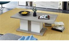 Couchtisch Kelis Beistelltisch Tisch Wohnzimmer weiß matt und Silbereiche 120x65