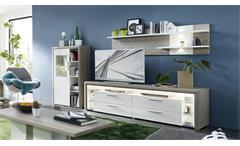 Wohnwand 2 Kelis Wohnzimmer Anbauwand in weiß Hochglanz und Silbereiche mit LED