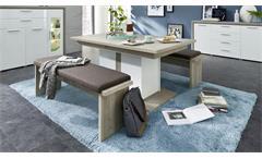 Esszimmer Kelis Tischgruppe ausziehbarer Tisch Bank in weiß matt und Silbereiche