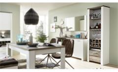 Regal Mateo Flaschenregal Standregal Esszimmer in weiß und Driftwood 64x199 cm