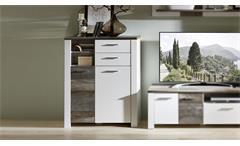 Kommode Mateo Highboard Schrank Anrichte Wohnzimmer weiß und Driftwood 96x122 cm