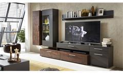 Wohnwand Roja Anbauwand Wohnzimmer in graphit matt und Ferro Bronze inkl. LED