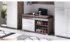 Bank Crown-X Garderobe Flurmöbel in weiß Hochglanz und Driftwood mit Sitzkissen
