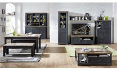 Wohnwand 1 Yase Anbauwand Wohnzimmer graphit und Artisan Eiche mit LED 326x204