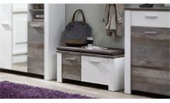 Bank Mateo Schuhkommode Schuhschrank in weiß und Driftwood mit Kissen 90x50 cm