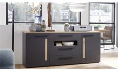 Sideboard Loft-Two Kommode in graphit supermatt Absetzung Artisan Eiche inkl. LED