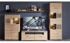 Wohnwand Artisan Eiche Caspio Glas inkl. LED Set 5-teilig Wohnzimmer Spider Plus 2