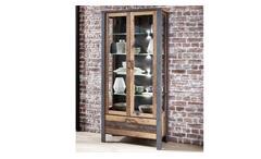 Vitrine Highboard Wohnzimmer Schrank Used Style Dark Matera Metall Cardiff