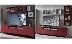 Wohnwand Kazo Anbauwand TV-Board Regal modern rot matt