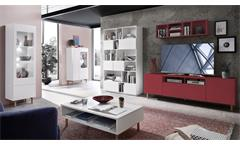 Wohnwand 2-tlg Set Kazo TV-Board 195 cm Regal rot matt Buche massiv Aluoptik