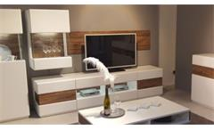 Wohnwand Chiara Anbauwand weiß Akazie geriffelt mit LED