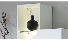 Hängevitrine weiß Set Solo 3-tlg supermatt MDF Wohnzimmer Regal inkl. LED 105 cm