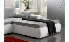 Ecksofa Alfa Wohnlandschaft in weiß und grau mit Gästebett und Bettkasten