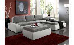 Ecksofa ALFA mit Hocker in weiß und grau mit Gästebett