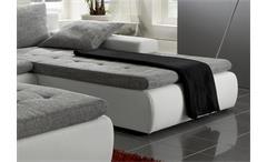 Ecksofa Alfa Wohnlandschaft mit Hocker in weiß und grau mit Gästebett