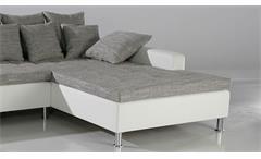 Ecksofa Wohnlandschaft Polsterecke Montego grau und weiß mit Kissen 326x213 cm