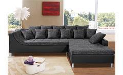 Ecksofa MONTEGO Sofa mit Ottomane schwarz anthrazit 6 Kissen