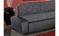 Ecksofa Alfa Wohnlandschaft Sofa in schwarz grau mit Gästebett und Bettkasten.