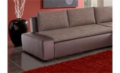 Ecksofa Alfa Wohnlandschaft Sofa in braun beige mit Gästebett und Bettkasten