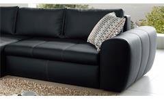 Wohnlandschaft Cascada Sofa mit Ottomane in schwarz mit Bettfunktion