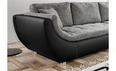 Wohnlandschaft Avus Ecksofa schwarz mit Sitz und Kissen in Webstoff grau