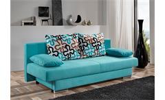 Modernes Schlafsofa TIFFANY Sofa in Türkis inkl. 4 Kissen