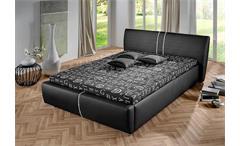 Polsterbett PERRY Bett in Schwarz mit Strasssteinen 140x200