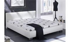Polsterbett LANDRO Bett in weiß mit Ziernähten 180x200 cm