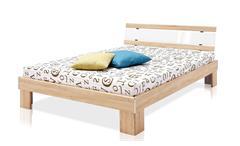 Futonbett Rhone Bett in Eiche Sägerau weiß Hochglanz mit Rollrost Matratze 140