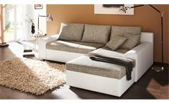 Ecksofa Snake Wohnlandschaft Sofa weiß mit Gästebett Webstoff grau Bettkasten